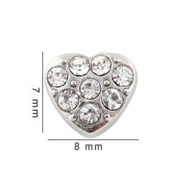 $enCountryForm.capitalKeyWord NZ - 7*8mm Silver Plates Crystal Heart Charms Floating Locket Charms For Glass Locket