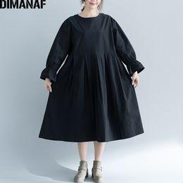 b3301960a68 DIMANAF Women Dress Big Sizes Femme Loose Large Clothing Long Sleeve Elegant  Lady Pleated Vestidos Solid Black 2018 Autumn Dress