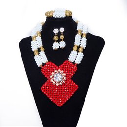 Halloween Indian Costumes For Women UK - New style African Beads Jewelry Set Nigerian Wedding Jewelry Set for Women Fashion Red White Beads Bridal Costume Necklace Free Shipping