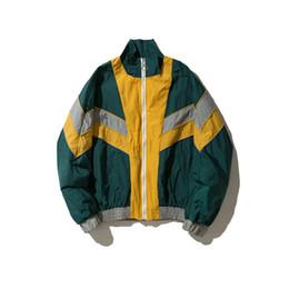 Wholesale blue zip up jacket for sale – winter Vintage Multicolor Color Block Patchwork Windbreaker Jackets Autumn Hip Hop Streetwear Zip Up Track Casual Jackets
