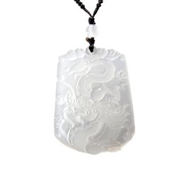 $enCountryForm.capitalKeyWord UK - White Chalcedony Peaceful Nothing Dragon Pendant Natural Crystal Agate Zodiac Dragon Pendant Male and Female Pendant
