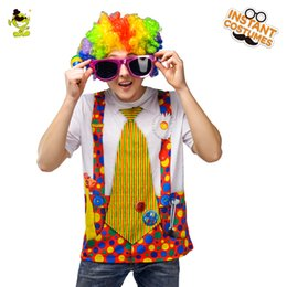 Wholesale Men s Circus Clown D T Shirt Halloween Party Cosplay Costume Short Top With Wig Funny Clown T shirt
