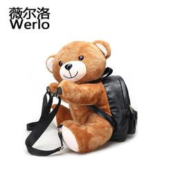 Ted Teddy bear plush online shopping - WERLO New Lovely Women Backpack Teddy Bear Plush Backpacks Soft Ted Bear Shoulder Bag PU Leather Fashion Girl Bags Mochila SJ056