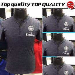 4fb45e33d77 2019 PSG Polo Grey Soccer Jersey 18 19 Paris Saint-Germain Soccer Polo  Football Uniforms Sport Shirt On Sale
