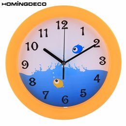 Discount bedroom fishing lights - Homingdeco 10 inch Silent Wall Clock Kids Quartz beatiful Wall Clocks Home Decor for bedroom Fish Pattern - Yellow Frame