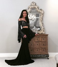 sexy straps Canada - 2018 Sexy Black Two Pieces Prom Dresses Straps Spaghetti Sheer Long Poet Sleeves Mermaid Satin Evening Party Gowns with Lace Sequins