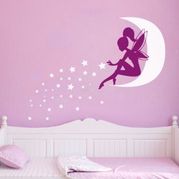 $enCountryForm.capitalKeyWord NZ - stickers android Large size vinyl wall stickers fairy Girl , Pixie Dust Moon Stars vinyl wall decals girls bedroom art decor free shipping