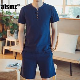 Discount light brown linen suit - Aismz T Shirts Shorts Summer Brand Tshirt Men Light Breathable Casual Beach Set M-5XL linen T-shirt Suit Male Fashion Su