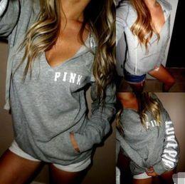 V neck sweat shirts online shopping - Hip Hop Pink Sweatshirt Autumn Casual Pullovers Women Gray Hoodies V Neck Sweat Shirt Femme Tops Harajuku Tracksuit