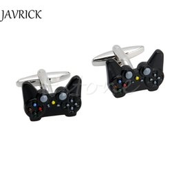 plated mens silver cufflinks 2019 - Fancy Black Game Consoles Handle Cuff Links Cufflinks For Mens Shirt Brand Novelty Fashion Cuff Bottons Stainless Steel