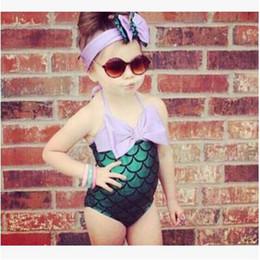 Discount girls bathing suit kids swim - Mermaid Girl Swimsuit Kids Mermaid Tail Bikini Baby Fish Scale Swimwear Bow Headwear Swimwear Headband Bathing Suits Kid