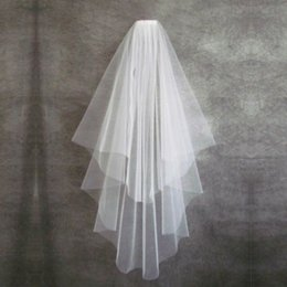 $enCountryForm.capitalKeyWord NZ - Wedding Veil with Comb Fashion White Two-Layers Romantic Cheap Bridal Tulle Free Shipping Hot Sale Wedding Accessories In Stock