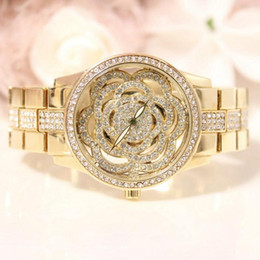 $enCountryForm.capitalKeyWord NZ - Women's Stainless Steel Rhinestone Watch Gypsophila watches Hollow Flowers Rose gold Ladies Costume dress Fashion sports wristwatch