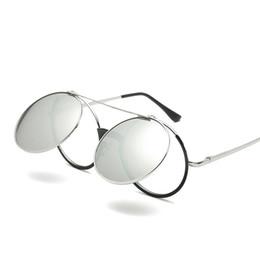 45b3f17d55a4 Vazrobe Steampunk Glasses Men Women Vintage Flip Up Round Sunglasses Man  Female Sun Glasses Hip Hop Punk Retro Shades Mirrored