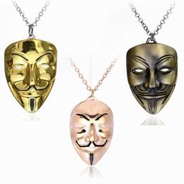 Necklaces Pendants Australia - Hip Hop Jewelry V For Vendetta Mask Necklace Men Jewelry Charm Pendant Necklace Cuban Link Chain Metal Jewelry Mens Necklaces