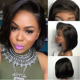 Chinese  XBL HAIR Straight Short Bob Wigs Peruvian Remy Hair Lace Front Human Hair Wig African American For Women Natural Color manufacturers