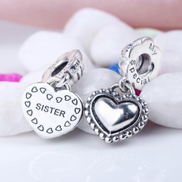 c777c2a06 Sister Heart Dangle Charm 925 Sterling Silver Family Beads Fits European Pandora  Style Brand Bracelets for jewelry making