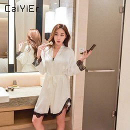 2aa5abee4b Caiyier Women Lace Robe Sets 2018 Spaghetti Strap Nightwear Silk Summer  Ladies Solid Sleepwear Sexy Nightgowns Sets LL1889+6689