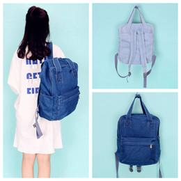 $enCountryForm.capitalKeyWord Canada - Simple Style Denim Backpack Washable School Bag Fresh Universal Boys Girls Outdoor Bags 2 Colors High Quality 50 NNA424