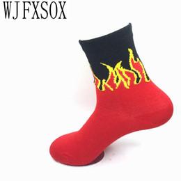 Discount used socks - Wholesale- WJFXSOX 1 pairs New unisex socks Red Flame Pattern uses hip hop Crew Socks Fashion Classic Street Skateboard