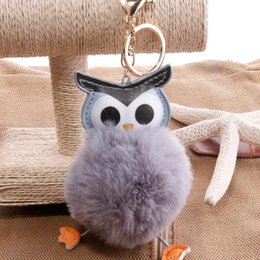 Artificial Chains Wholesalers Australia - Cute Owl Pompom Keychain Fluffy Artificial Rabbit Hairball Keychains Animal Women Car Bag Key Chain
