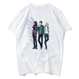 China 2018 Japanese Anime Attack on Titan T Shirt Cosplay Costume Shingeki no Kyojin Cartoon T-Shirt Tee Golden Anime tees s-xxxl cheap golden cosplay suppliers