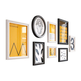 office bathroom decor NZ - Modern Combination Photo Frame Home Decor, Home and Wall Decorations (Color : Black and White)