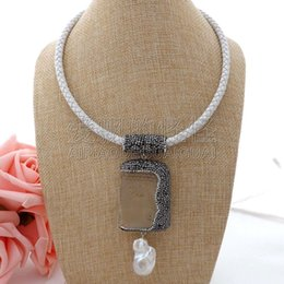 Necklaces Pendants Australia - N061210 19'' White Leather Necklace Keshi Pearl Clear Crystal Buddha Pendant