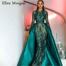 9986214a00a Saudi Arabia Long Sleeves Mermaid Evening Dresses 2018 Dubai Kaftan Muslim  Dark Green Glitter Fabric Formal Prom Party Gowns C18111601