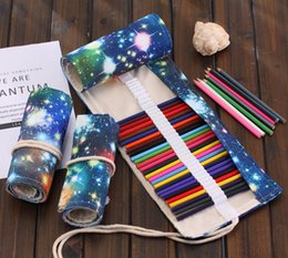 Art Canvas Prints Australia - 36 48 72 Holes universe Milky Way print Art pencil bag cosmetic holder bags brush bag make up pouch curtain roller canvas pencil case