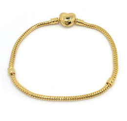 Days 24k bracelet online shopping - Brand new high quality k gold plated snake chain heart shape clasp bracelet fit fashion European charms bracelet DIY