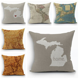 Shop world map cushion uk world map cushion free delivery to uk vintage world map cushion cover shabby chic home decor ocean ship almofada 45cm cotton linen throw pillow case for sofa bed couch gumiabroncs Images