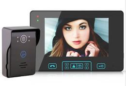 Wireless Door Key Australia - 7 inch touch key tamper alarm rainproof 2.4GHz wireless video door phone 1 camera intercom doorbell with 2 toughened panel monitor LLFA