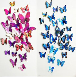 $enCountryForm.capitalKeyWord NZ - 12pcs PVC 3d magnetic Butterfly wall decor cute Butterflies wall stickers art Decals home Decoration ak085