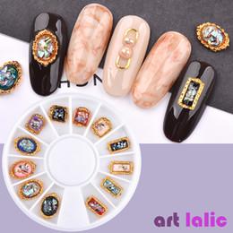 $enCountryForm.capitalKeyWord NZ - 12 Pcs Nail Art Retro 3D Glitter Gem Rhinestones Decorations Metal Foil Flat Back Charm Jewelry Manicure Tools DIY Design