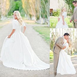 $enCountryForm.capitalKeyWord Australia - Modest Plus Size Wedding Dresses With Half Sleeves Full Lace Top Cheap Bohemian A-Line Court Train Satin Bridal Gowns Button Back