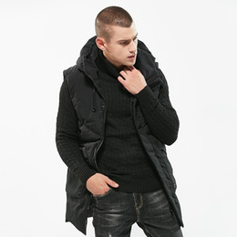 Wholesale MRMT Brand Men s Sleeveless Vest Thickening Hooded Slim Warm Cotton Vest for Male In The Long Coat Outer Wear Clothing