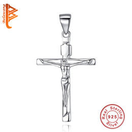 Jesus Cross Accessories NZ - BELAWANG Authentic 925 Sterling Silver Christ Jesus Cross Pendant Fit Original Necklace & Bracelet For Women DIY Jewelry Accessories