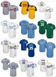 378b30620e9 Men s Majestic KC Royals Jersey  35 Eric Hosmer Jersey Authentic Blue White  Gold Program custom women youth Baseball Jerseys