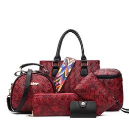 luxury clutch handbags 2019 - 2018 New Luxury Knitting Woman Handbags 6 Pcs Composite Bags Set Ladies Shoulder Bag Purse Clutch Bags Wallet Of Women d
