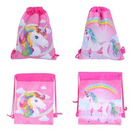Drawstring pouches pink online shopping - Unicorn Drawstring Bags Styles Kids Backpack Nonwovens Girls Boys Pouch Gift Bags Children School Travel Storage Bags MMA140