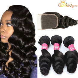 22 inch brazilian hair 2019 - Brazilian Loose Wave With Closure 3 Bundles Brazilian Virgin Hair With Closure Unprocessed Human Hair Weaves Hair Bundle