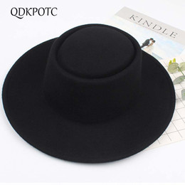 Discount black fedora fashion women - QDKPOTC Hot Sell 2018 Fashion New Women Wool Fedoras Black England Female Elegant Retro Big Brim 100%Wool Hat