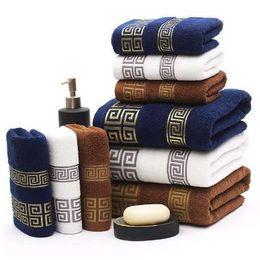 EmbroidEry facE towEls online shopping - luxury cotton bath towel Towel Set pc Set brand serviette adulte embroidery large beach towels x140cm and2pcs face towel