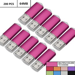 Thumb Flash Drive Australia - Pink Bulk 200PCS 64MB USB 2.0 Flash Drives Rectangle 64MB Pen Drives Flash Memory Sticks Thumb Storage for Computer Laptop Tablet Macbook