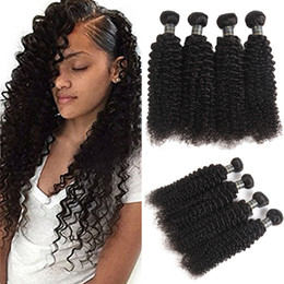 permed curly hair NZ - Malaysian Kinky Curly Human Hair 3 or 4Pcs Lot Malaysian Human Hair Weaves Wavy Kinky Curly Hair Extensions 9A Remy Malaysian Curly