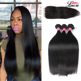 Discount wholesale straight human hair weave - Brazilian Virgin Straight Human Hair With Closure Brazilian Straight Hair Bundles with 4x4 Closure Unprocessed Brazilain