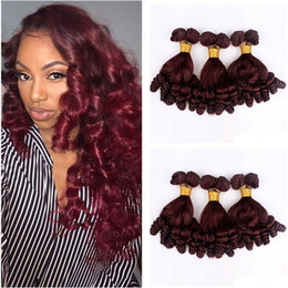 cheap red straight weave human hair UK - Funmi Burgundy Human Hair Weaves Bundles 3Pcs Virgin Wine Red 99J Funmi Hair Weave Romance Curls Hair Weft Extensions cheap price
