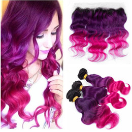 $enCountryForm.capitalKeyWord Australia - Dark Root #1B Purple Pink Ombre Full Lace Frontal Closure 13x4 with 3Bundles Body Wave Malaysian Virgin Three Tone Ombre Human Hair Wefts