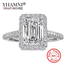 Big diamond rings for women online shopping - YHAMNI Fashion Original Pure Silver Ring Luxury Big mm A Zirconia Engagement Rings Crystal Jewelry For Women ZR999